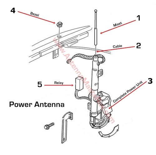 1998 1999 Cadillac Deville Antenna Mast Parts