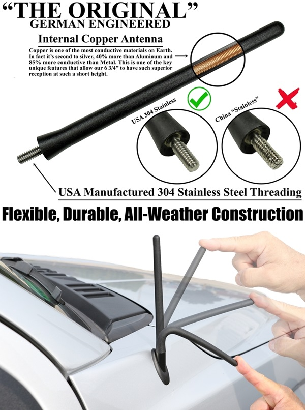 AntennaMastsRus 2008-2019 5 SHORT Rubber Antenna is Compatible with Dodge Grand Caravan